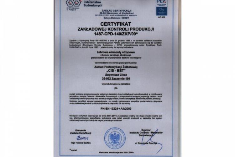Certyfikat Zakładowej Kontroli Produkcji - żebrowe elementy stropowe - płyty korytkowe DKZ