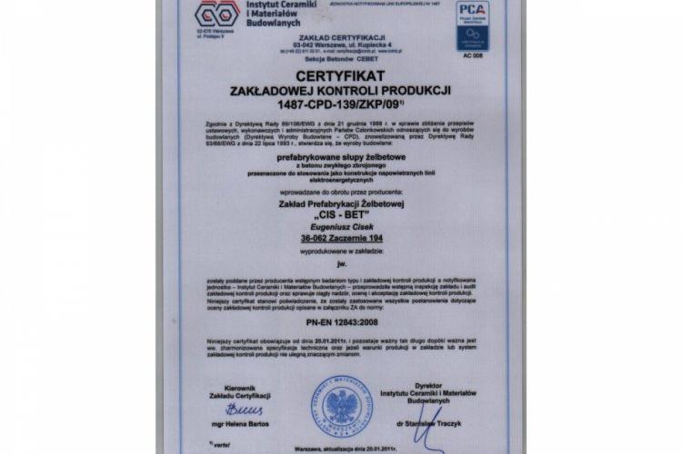 Certyfikat Zakładowej Kontroli Produkcji - prefabrykowane słupy żelbetowe