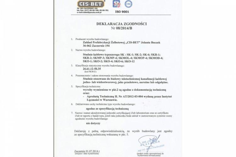 Deklaracja zgodnosci - studnie kablowe