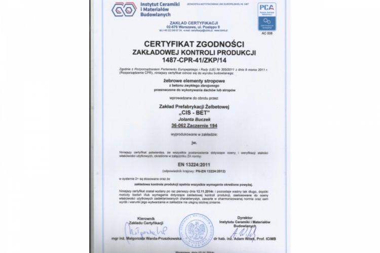 Certyfikat ZKP płyty  korytkowe -dachowe DKZ