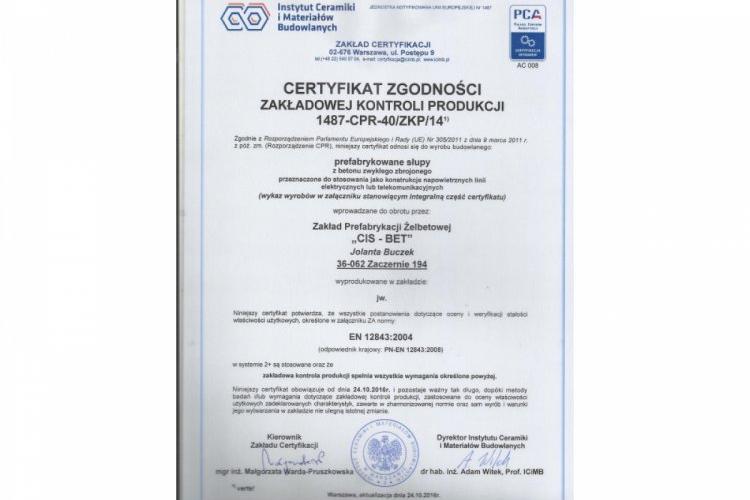 Certyfikat ZKP Maszy i słupy