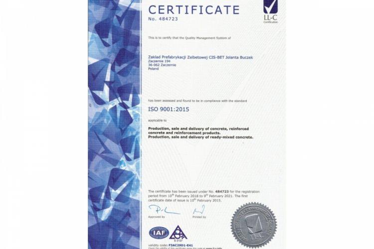 Certyfikat  ISO 2018-2021 w wersji anglojęzycznej