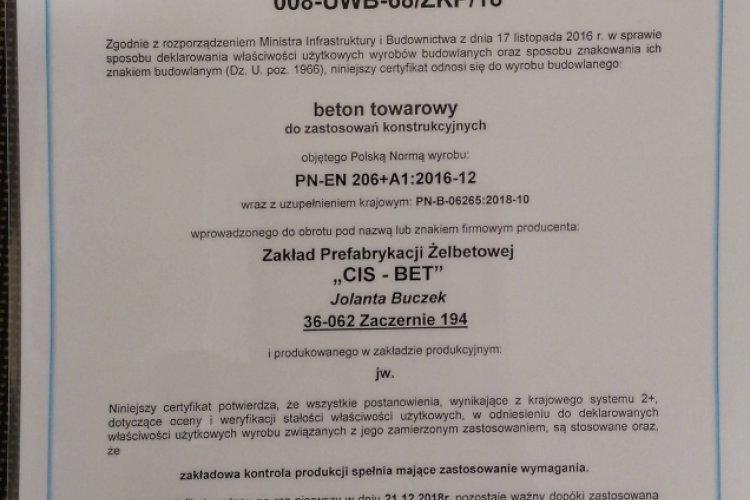 Certyfikat ZKP- beton towarowy